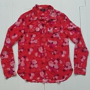 American eagle sheer floral button down small